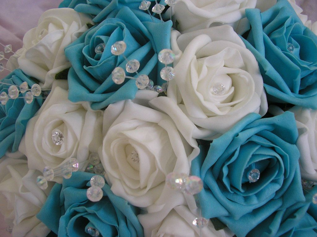ARTIFICIAL TURQUOISE WHITE FOAM ROSE WEDDING FLOWERS
